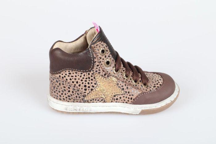 Shoesme EF21W042-B veterschoen brown black dots