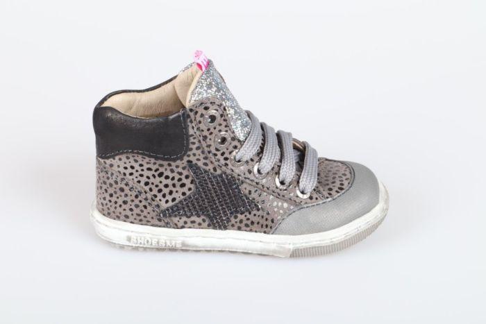 Shoesme EF21W042-A veterschoen grey black dots